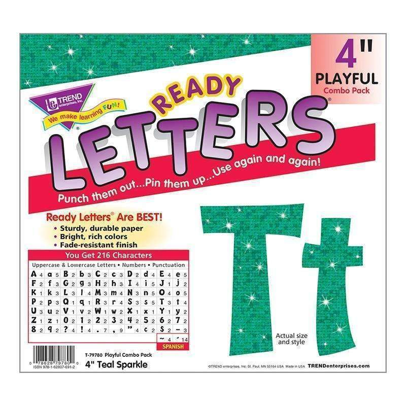 4IN READY LETTERS TEAL SPARKLE-Learning Materials-JadeMoghul Inc.