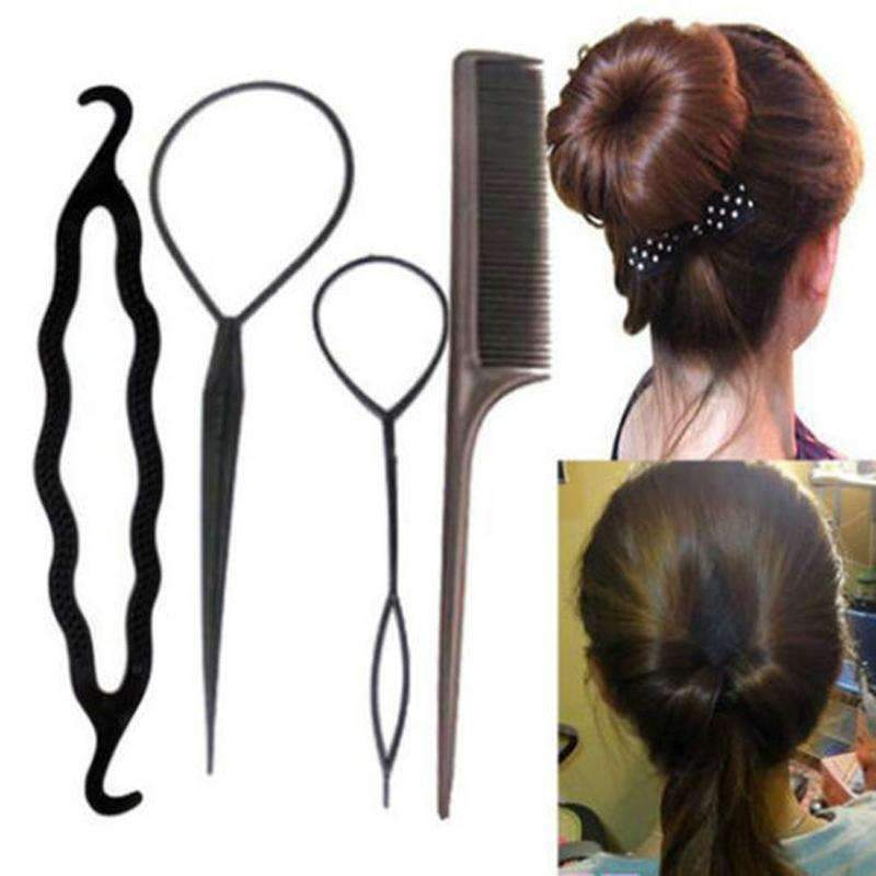 4Pcs/Set Black Plastic DIY Styling Tools Pull Hair Clips For Women Hairpins Comb Hair Bun Maker Dount Twist Hair Accessories--JadeMoghul Inc.