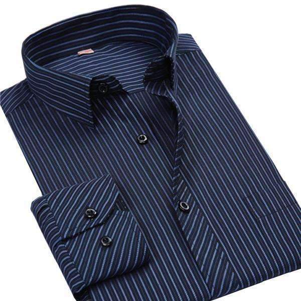 4XL 5XL 6XL 7XL 8XL Large Size Men's Business Casual Long Sleeved Shirt White Blue Black Striped Male Social Dress Shirt Plus-DM2106-Asian Size S-JadeMoghul Inc.
