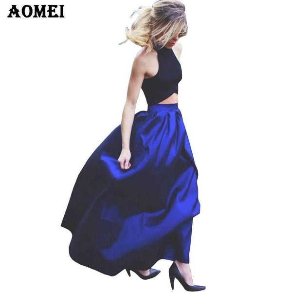 4xl 5xl Blue 118cm Length Long Maxi women summer skirts faldas High Waist Pleated womans Jupe Female Clothes floor length skirt-118cm Black-S-JadeMoghul Inc.