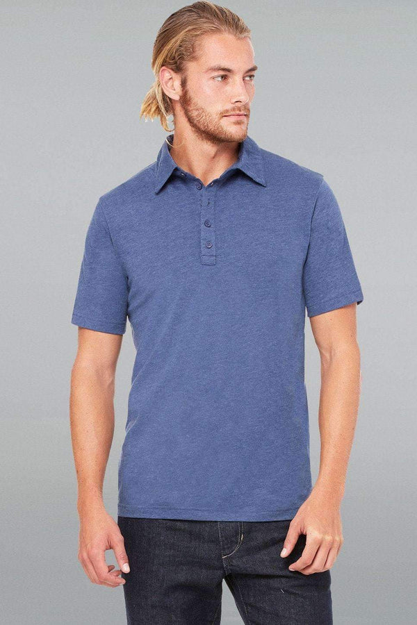 5-Button Polo - Men-Men Short Sleeve Tops-S-Heather Navy-JadeMoghul Inc.