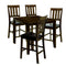 5-Piece Wooden Counter Height Table Set In Dark Oak Brown-Dining Tables-Brown-Wood And Leather-JadeMoghul Inc.
