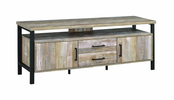 58 inch Metal and Wooden TV Console with Spacious Storage and Center Back Support, Brown-Media Storage Cabinets & Racks-Brown-MDF, Metal, Particle Board-JadeMoghul Inc.
