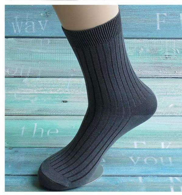 5pairs Men Dress Socks-iron gray-42 to 43 EU-JadeMoghul Inc.