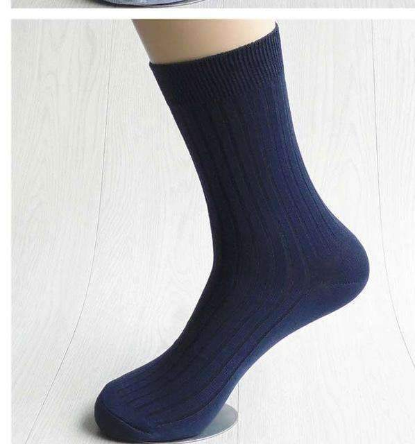 5pairs Men Dress Socks-Navy blue-42 to 43 EU-JadeMoghul Inc.