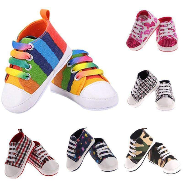 6 Colors New Infant Toddler Newborn Baby Shoes Unisex Kids Classic Sports Sneakers Baby Soft Bottom Anti-slip T-tied Shoes-SevenColor-0-6 Months-JadeMoghul Inc.