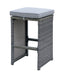 6 Piece Patio Bar Stool In Aluminum Wicker Frame And Padded Fabric Seat, Gray-Patio Furniture-Gray-Aluminum Frame & Fabric-JadeMoghul Inc.