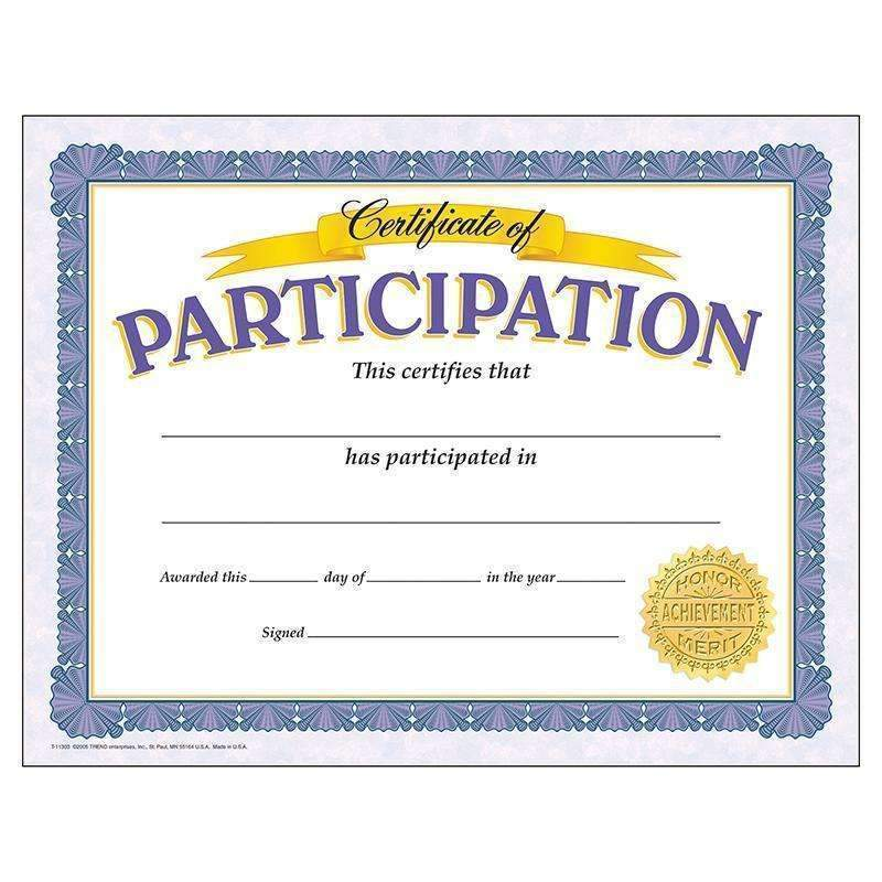 (6 PK) CERTIFICATE OF PARTICIPATION-Learning Materials-JadeMoghul Inc.