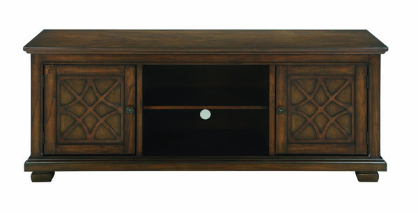 60 Inch Wooden TV Console with 2 Storage Compartments and 2 Door Cabinets, Brown-Media Storage Cabinets & Racks-Brown-Poplar Wood, MDF, Mahogany Veneer, Metal-JadeMoghul Inc.