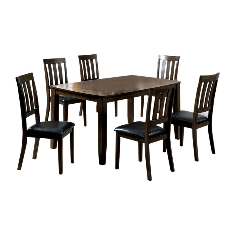 7-Piece Wooden Dining Table Set In Dark Oak Brown-Dining Tables-Brown-Wood And Leather-JadeMoghul Inc.