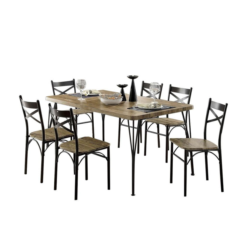 7-Piece Wooden Dining Table Set In Gray and Weathered Brown-Dining Tables-Gray and Brown-Metal and Wood-JadeMoghul Inc.
