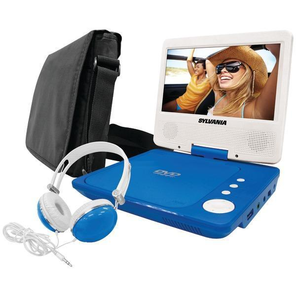 "7"" Swivel-Screen Portable DVD Player Bundle (Blue)-DVD Players & Recorders-JadeMoghul Inc."