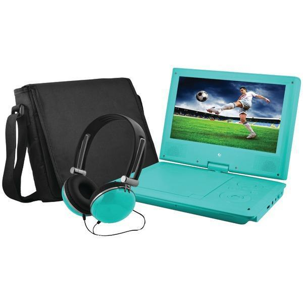 "9"" Portable DVD Player Bundles (Teal)-DVD Players & Recorders-JadeMoghul Inc."