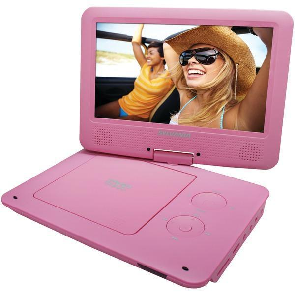 "9"" Portable DVD Player with 5-Hour Battery (Pink)-DVD Players & Recorders-JadeMoghul Inc."