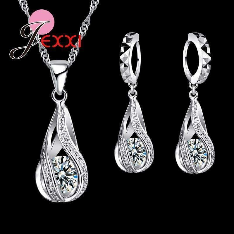 925 Sterling Silver Classic Drop Shape White Crystal Jewelry Sets Water Wave Necklace Pendant Hoop Earrings--JadeMoghul Inc.