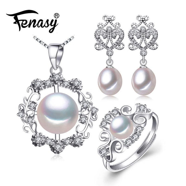 925 Sterling Silver Earrings, Pendant And Ring Set-White-Resizable-JadeMoghul Inc.