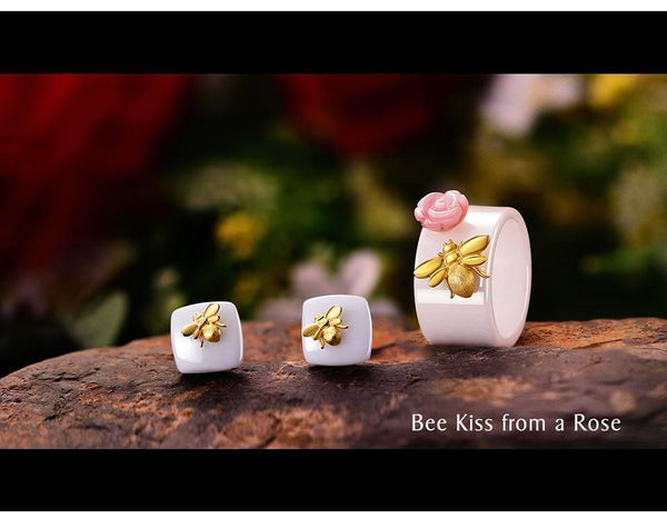 925 Sterling Silver Handmade Ceramics Cute Bee Kiss from a Rose Jewelry Set-6-JadeMoghul Inc.