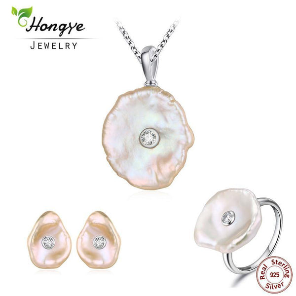 925 Sterling Silver Natural Freshwater Pearl Jewelry Set-silver pearl set-6-JadeMoghul Inc.