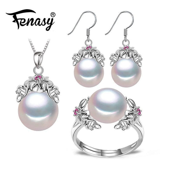 925 Sterling Silver Natural Pearl Complete Jewelery Set-White-Resizable-JadeMoghul Inc.
