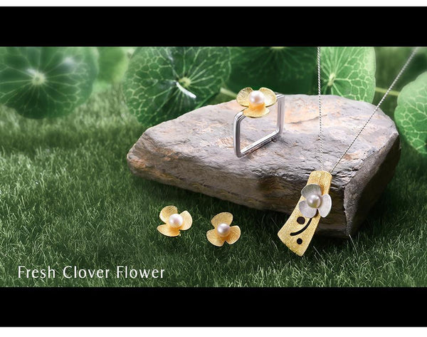 925 Sterling Silver Square Fresh Clover Flower Jewelry Set-6.5-JadeMoghul Inc.
