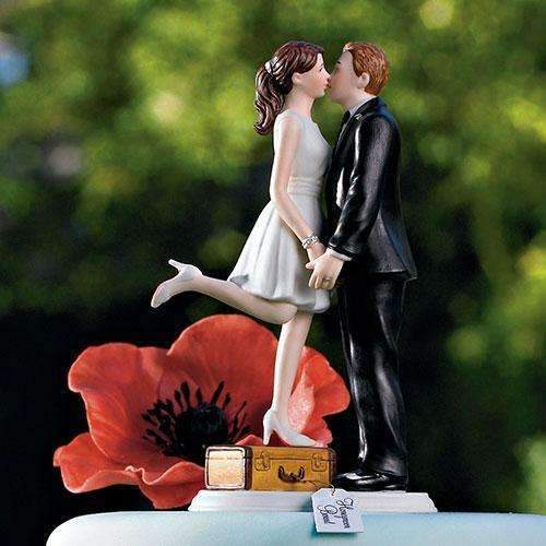 """A Kiss and We're Off!"" Figurine Medium Skin Tone (Pack of 1)-Wedding Cake Toppers-JadeMoghul Inc."