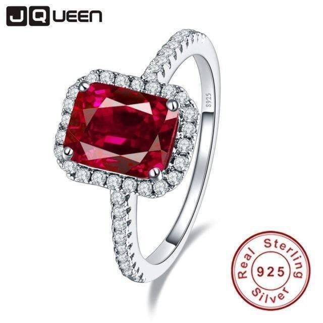A Sterling Silver Rings Hot Sale 3.6ct Pigeon Blood Red Ruby Engagement Wedding Ring Pure Solid 925 Sterling Silver Square Cut Fine Jewelry with box AExp