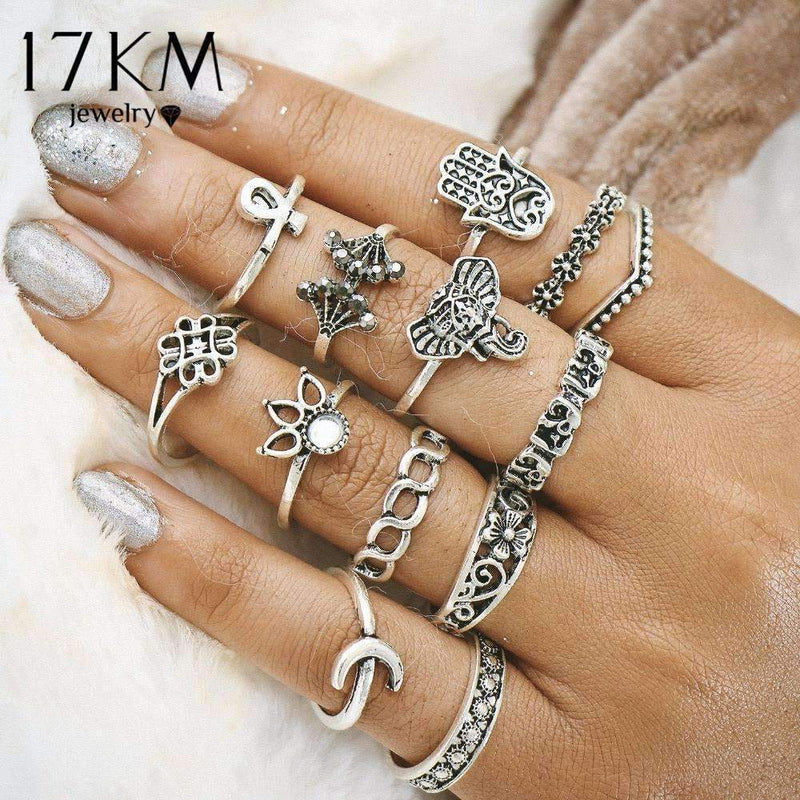 A Women Fashion Rings 13 Piece Hamsa Hand Midi Ring Set AExp