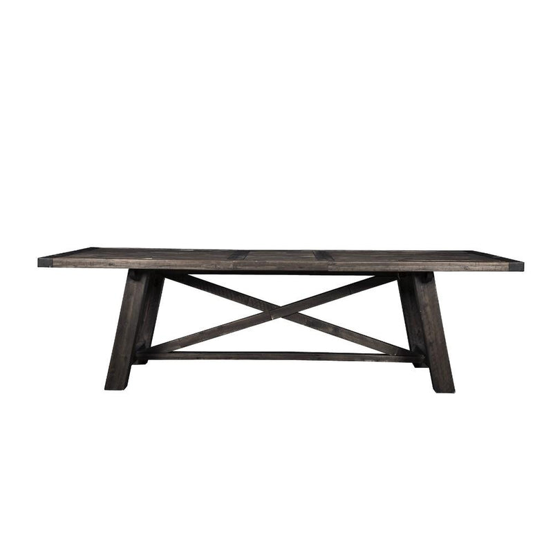 Acacia Wood Extension Dining Table Gray-Dining Tables-Gray-Acacia Solids-JadeMoghul Inc.