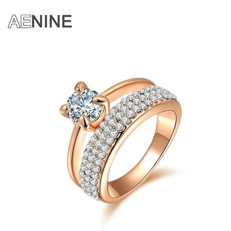 AENINE Classic AAA Cubic Zirconia Finger Rings Pave Setting Austrian Crystal Rose Gold Color Wedding Rings Jewelry R150290250R-8-Rose Gold Color-JadeMoghul Inc.