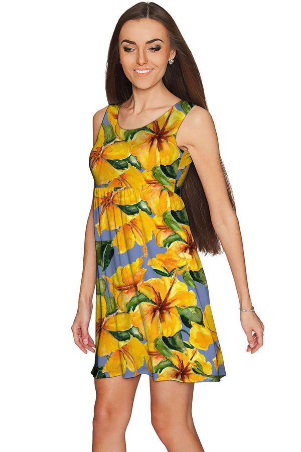 After the Rain Sanibel Empire Beach Floral Dress - Women-After the Rain-XS-Yellow/Blue/Grey-JadeMoghul Inc.