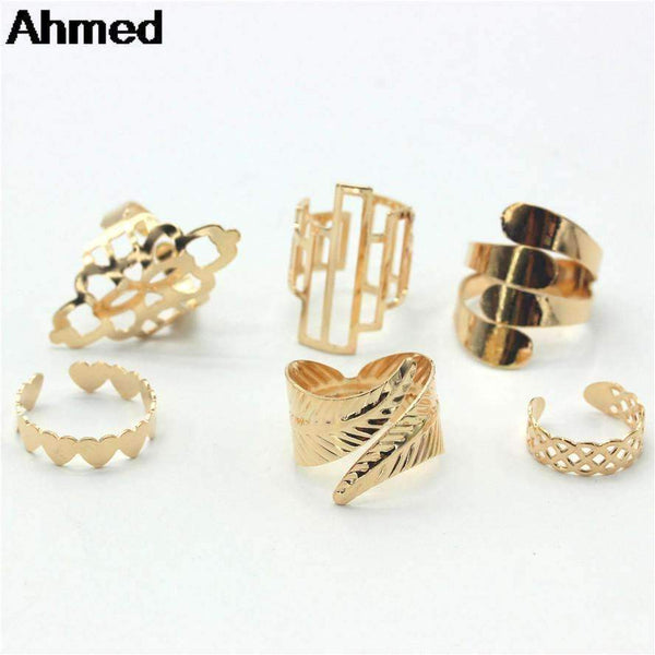 Ahmed Jewelry High Quality 6Pcs/Set Gold Finger Ring For Woman New Leaf Heart Female Rings Hot--JadeMoghul Inc.