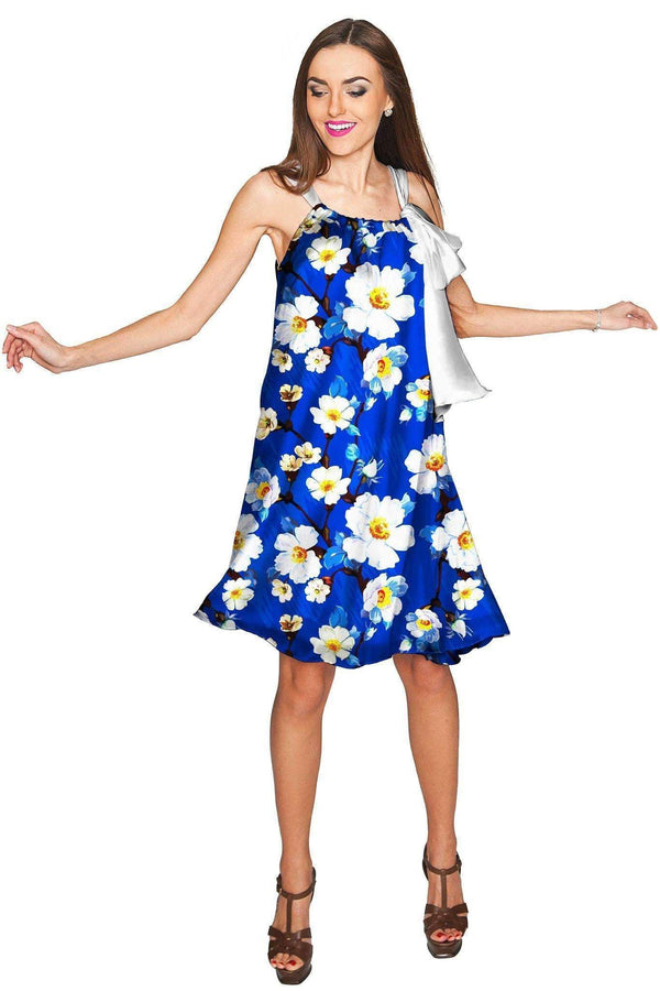 Almond Blossom Melody Blue Chiffon Floral Dress - Women-Almond Blossom-XS-Blue/White-JadeMoghul Inc.