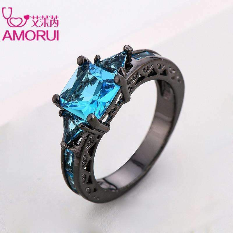 AMORUI Fashion Wedding Hollow Rings for Women Vintage Blue CZ Stone Ring Bague Femme Black Gold Color Engagement Ring Anillos-10-Blue-Black Gun Plated-JadeMoghul Inc.