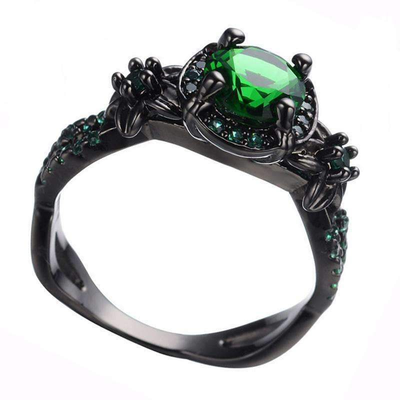 AMORUI Vintage Party Women Ring Green CZ Fashion Black Gold Color Wedding Engagement Rings for Women/Men Jewelry Bijoux Femme-10-Green-JadeMoghul Inc.