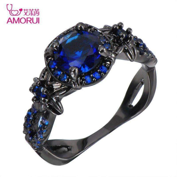 AMORUI Vintage Women Ring Blue CZ Fashion Black Gold Color Flower Wedding Engagement Rings for Women/Men Jewelry Bijoux Femme-11-Blue-Black Gun Plated-JadeMoghul Inc.