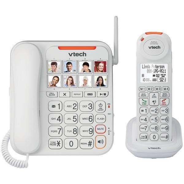 Amplified Corded/Cordless Answering System with Big Buttons & Display-Special Needs Phones-JadeMoghul Inc.