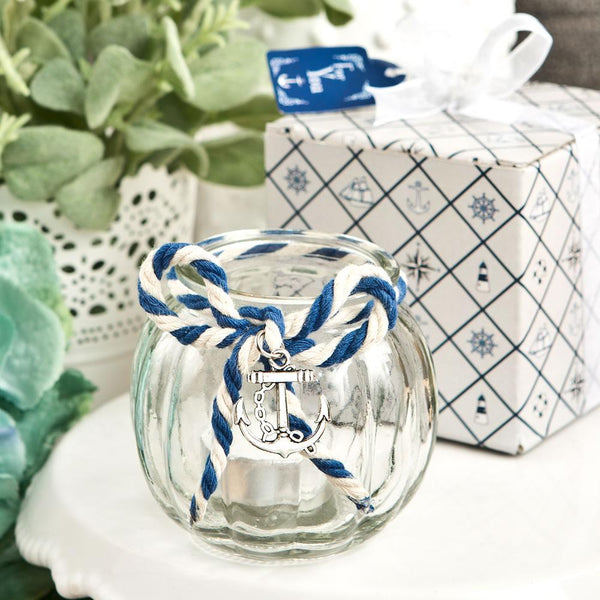 Anchor Nautical Themed clear glass round globe candle holder-Wedding Reception Decorations-JadeMoghul Inc.