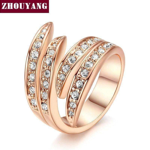 Angel's Wing Rose Gold Color Ring Health Jewelry Nickel Free Austrian Crystal For Women and Men Party Top Quality ZYR115-10-WhiteGold-JadeMoghul Inc.