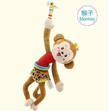 Animal Baby Soft Toy Ring Bell Baby Plush Rattle Squeaker Cute Cartoon Dog /Frog /Monkey/ cat Plush pull shock baby Toy WJ371-Monkey-JadeMoghul Inc.
