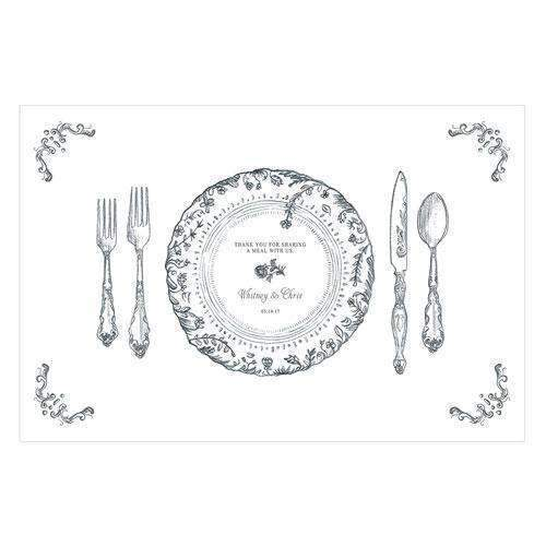 Antique Chic Personalized Paper Place Mat - Floral Frame Charcoal (Pack of 1)-Weddingstar-Charcoal-JadeMoghul Inc.