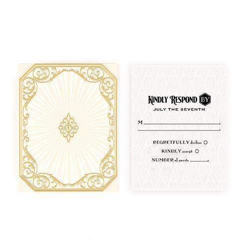 Art Deco Laser Embossed Accessory Cards with Personalization Black (Pack of 1)-Weddingstar-Black-JadeMoghul Inc.
