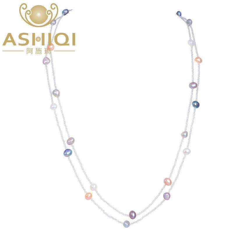 ASHIQI Multi Color Baroque Pearl Necklace 7-8 mm Natural Freshwater Pearl Long Necklace 925 sterling silver clasp Beach Style--JadeMoghul Inc.