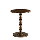 Astonishing Side Table With Round Top, Walnut-Side Tables and End Tables-Walnut-MDF Wood Veneer Solid Wood Post-JadeMoghul Inc.