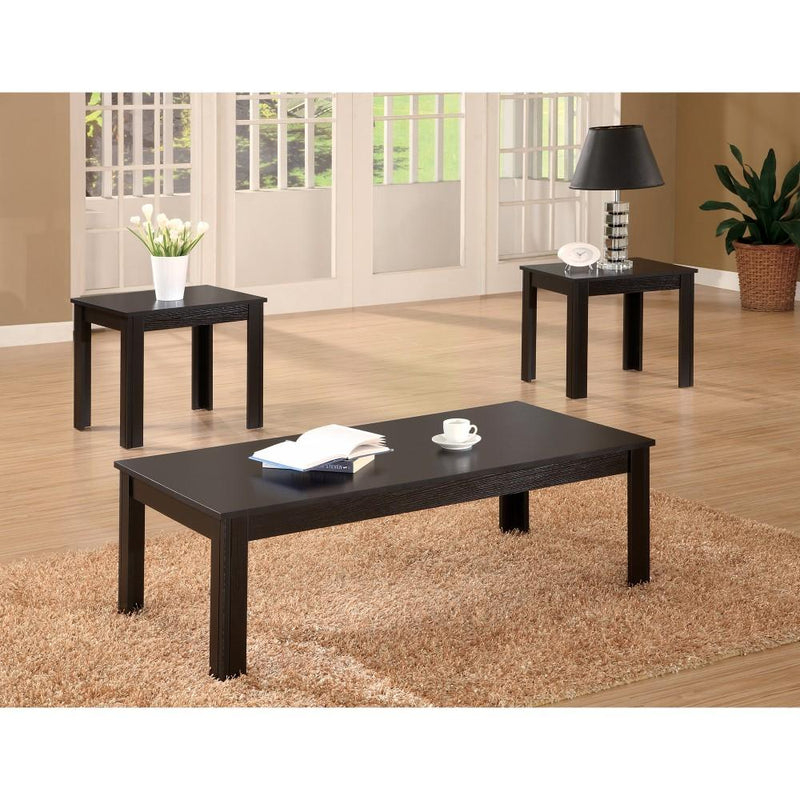 Attractive Black Three Piece Occasional Table Set-Coffee Table Sets-BLACK-SOLIDWOOD-JadeMoghul Inc.