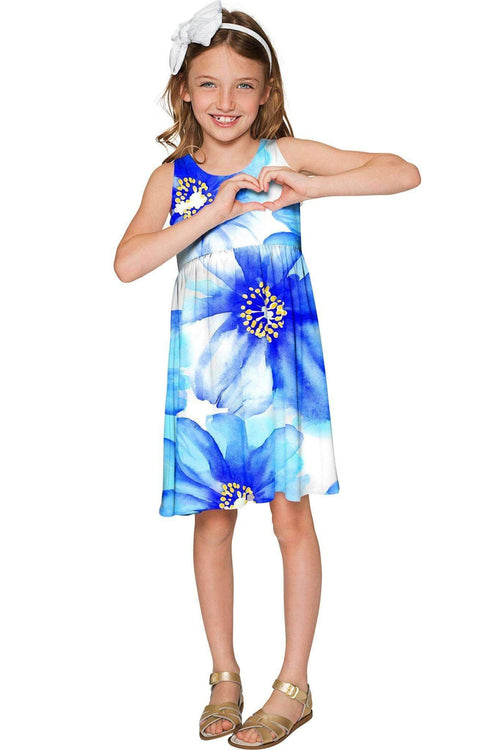 Aurora Sanibel Blue Floral Print Empire Dress - Girls-Aurora-JadeMoghul Inc.