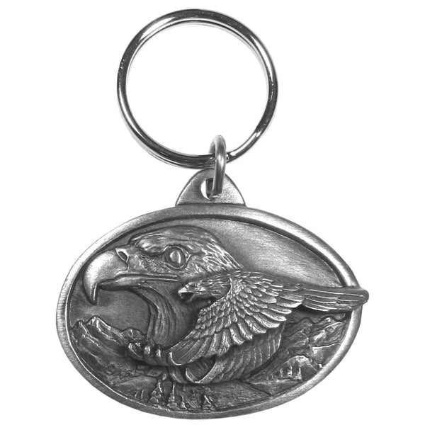 Authentic Sports Key Chains - Eagle Antiqued Keyring-Key Chains,Scultped Key Chains,Antiqued Key Chain-JadeMoghul Inc.