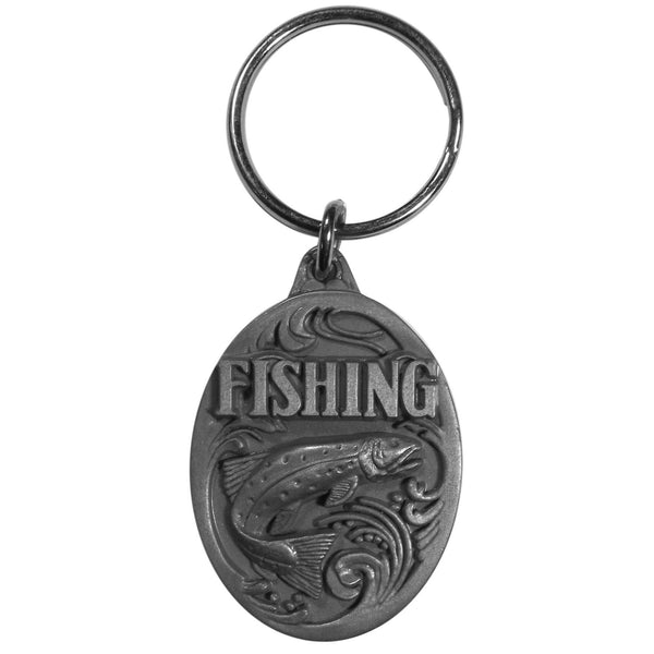 Authentic Sports Key Chains - Fishing Antiqued Key Chain with Trout-Key Chains,Scultped Key Chains,Antiqued Key Chain-JadeMoghul Inc.