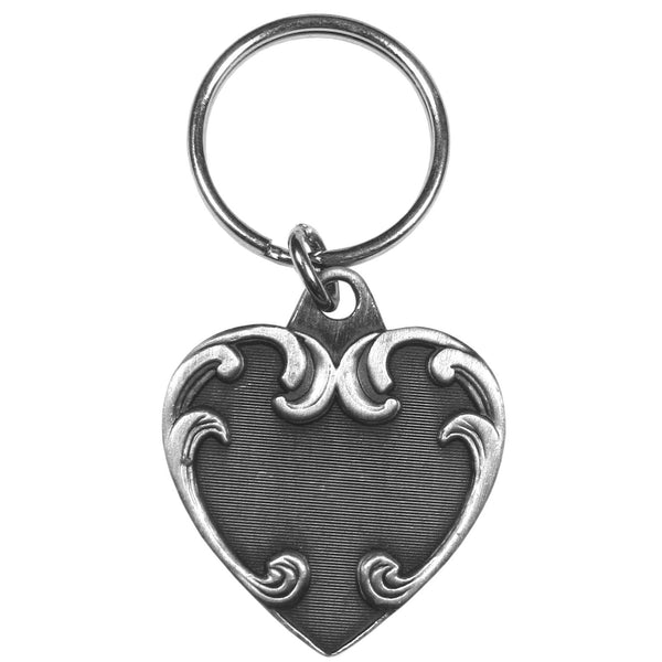 Authentic Sports Key Chains - Heart Antiqued Keyring-Key Chains,Scultped Key Chains,Antiqued Key Chain-JadeMoghul Inc.