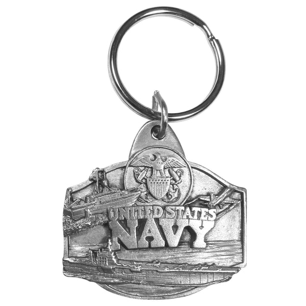 Authentic Sports Key ChainsNavy Antiqued Keyring-Key Chains,Scultped Key Chains,Antiqued Key Chain-JadeMoghul Inc.