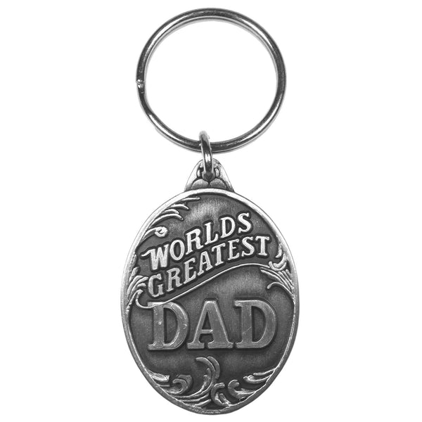 Authentic Sports Key ChainsWorld's Greatest Dad Antiqued Keyring-Key Chains,Scultped Key Chains,Antiqued Key Chain-JadeMoghul Inc.